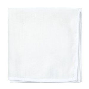 white linen with border contrasting white pocket square
