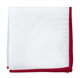 White Linen With Border Red pocket square