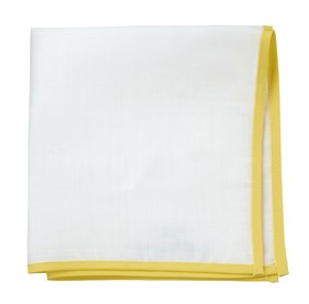 Yellow White Linen With Border pocket square