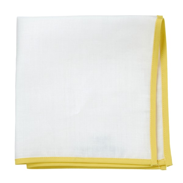 White Linen With Border Yellow Pocket Square