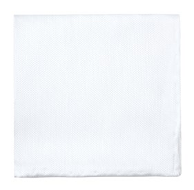 White Solid Linen pocket square