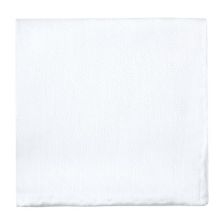 Solid Linen White Pocket Square