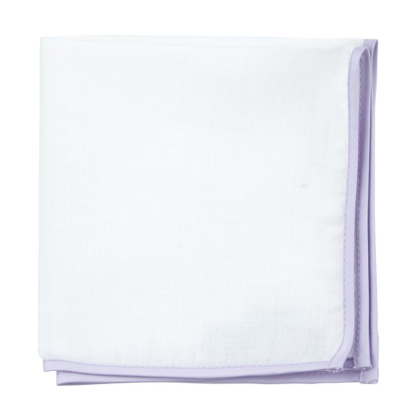 Lilac White Linen With Border Pocket Square