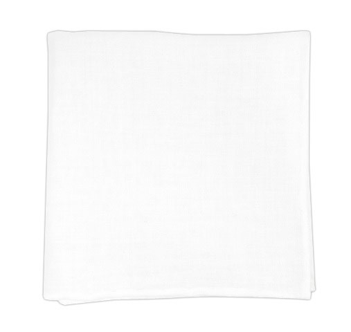 Solid White Linen Pocket Square