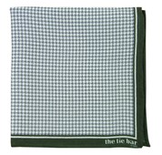 Pocket Squares - PRINTED LINEN HOUNDSTOOTH - HUNTER GREEN