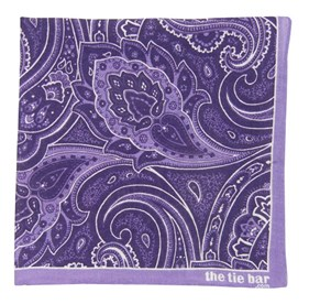 Purple Printed Linen Paisley pocket square