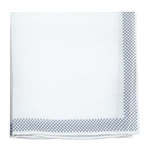 linen check white pocket square