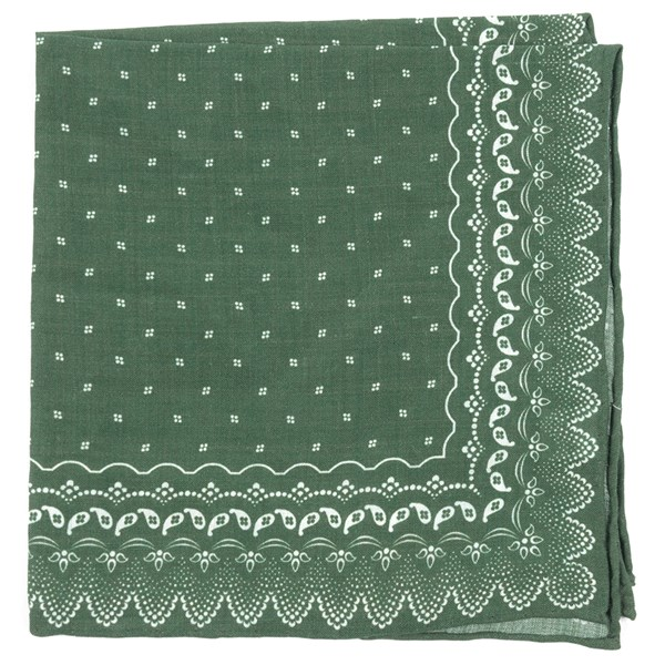 Olive Green Outpost Paisley Pocket Square