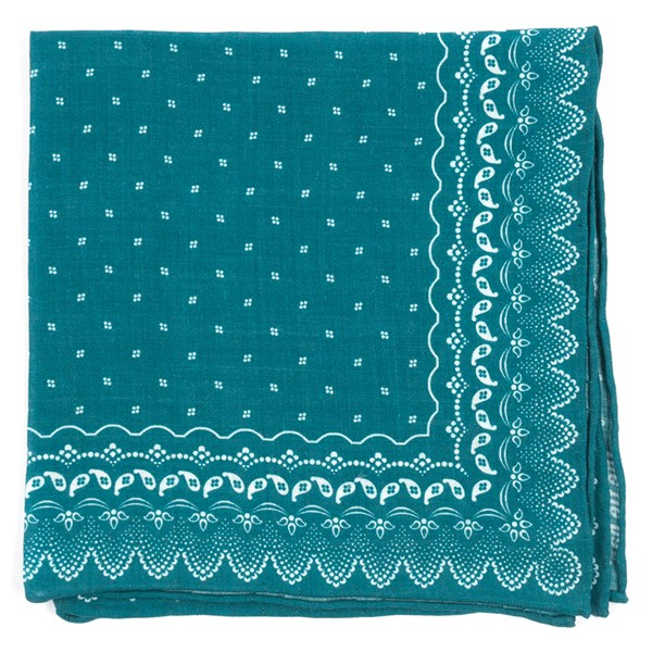 Teal Outpost Paisley Pocket Square