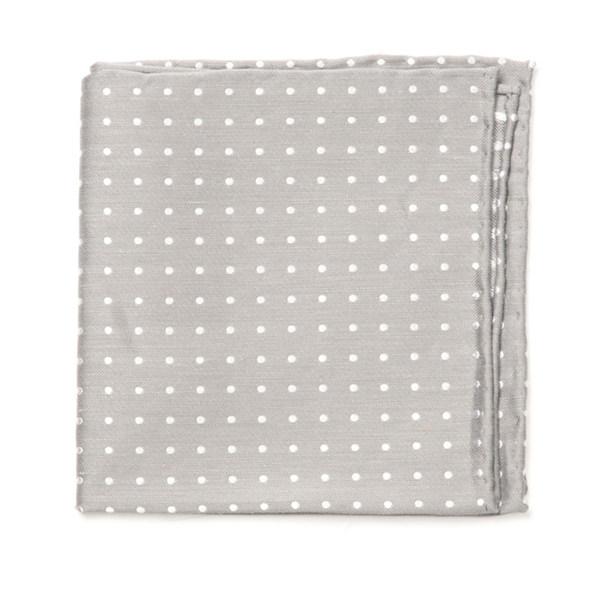 Silver Dotted Dots Pocket Square