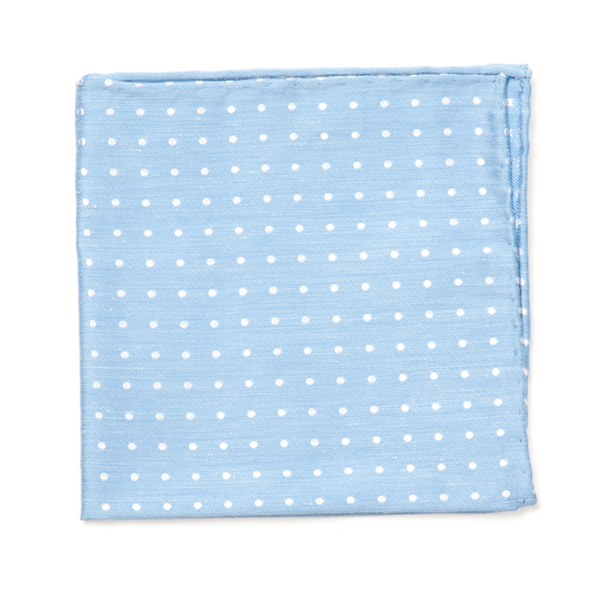 Light Blue Dotted Dots Pocket Square