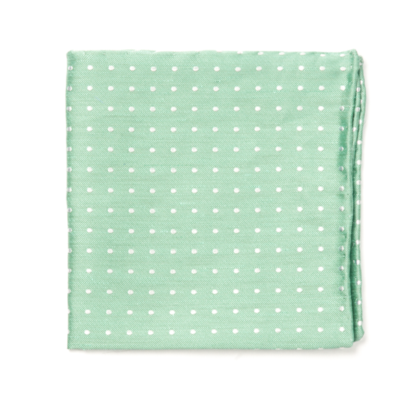 Mint Dotted Dots Pocket Square