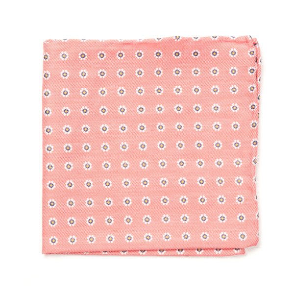 Coral Half Moon Floral Pocket Square