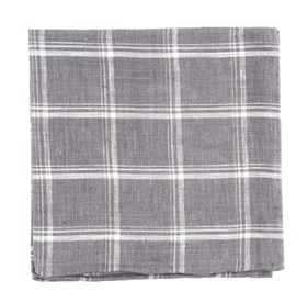 Jet Plaid Grey pocket square