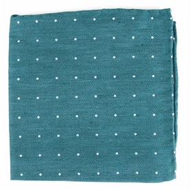 Teal Bulletin Dot pocket square