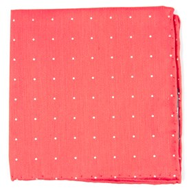 Coral Bulletin Dot pocket square