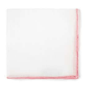 Pink White Linen With Rolled Border pocket square