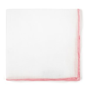 white linen with rolled border pink pocket square