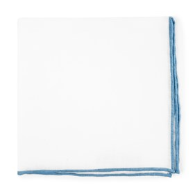 Light Blue White Linen With Rolled Border pocket square