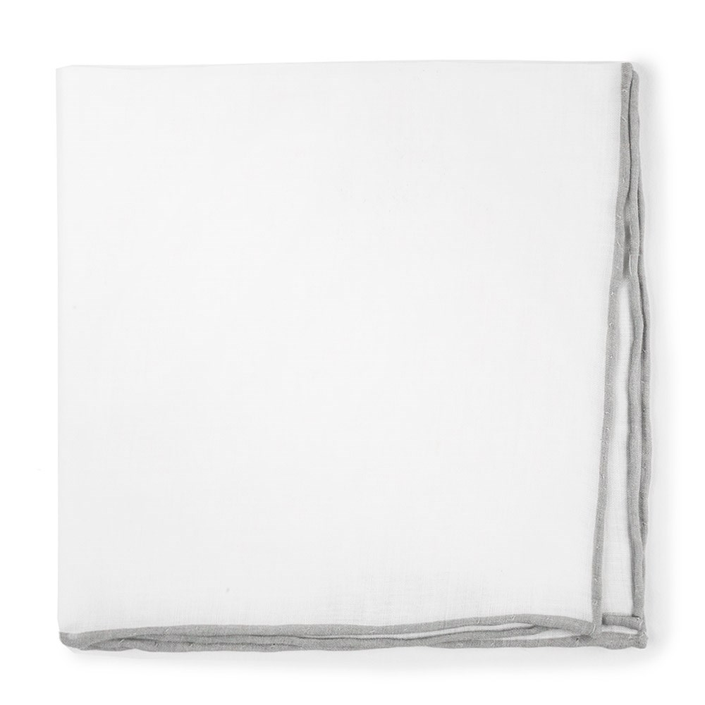 "White Linen With Rolled Border - Silver - 13"" x 13"" - Pocket Squares"