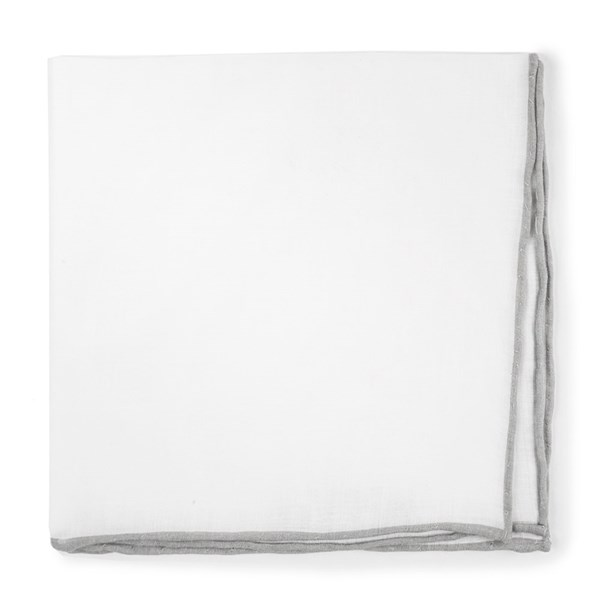 Silver White Linen With Rolled Border Pocket Square