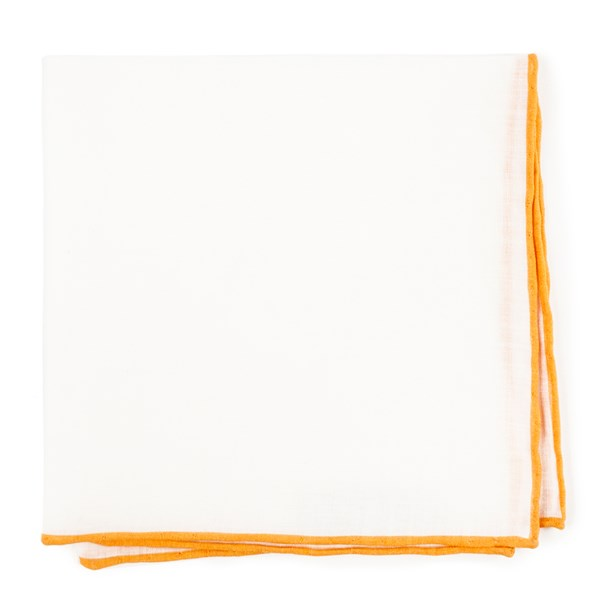 Mustard White Linen With Rolled Border Pocket Square