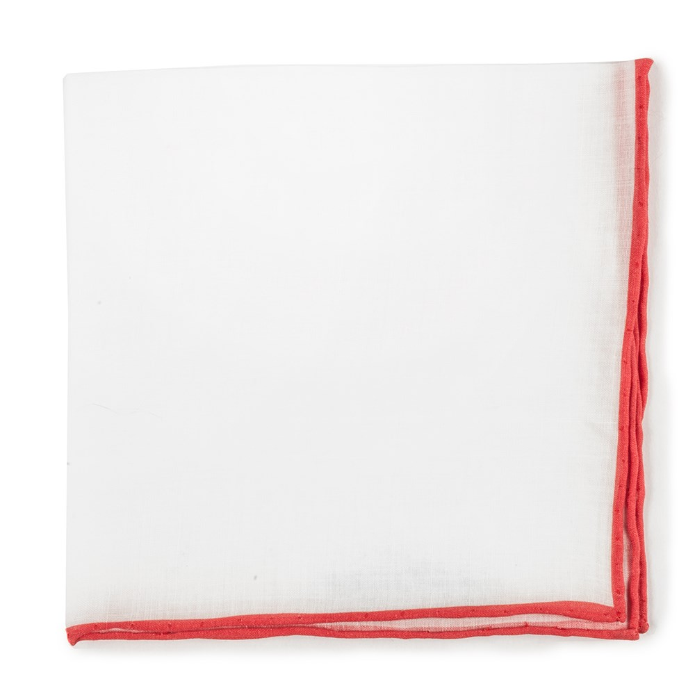 White Linen Pocket Square with Red Edge