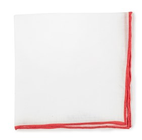 Persimmon Red White Linen With Rolled Border pocket square