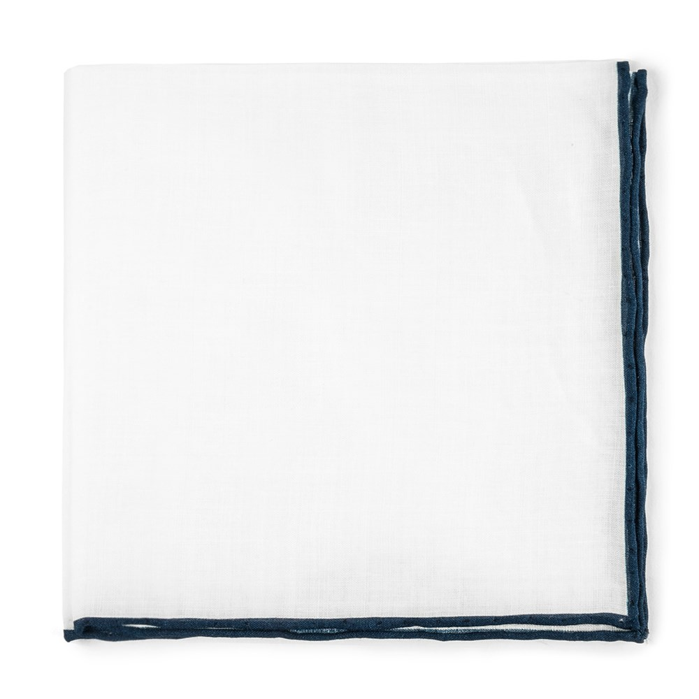 "White Linen With Rolled Border - Navy - 13"" X 13"" - Pocket Squares"