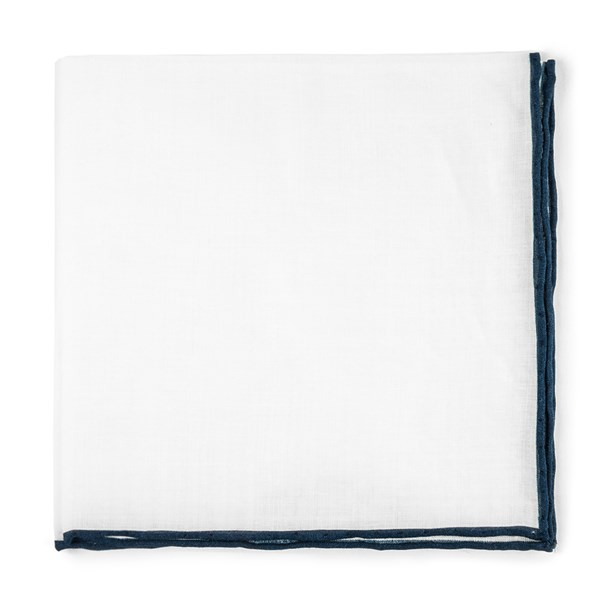 Navy White Linen With Rolled Border Pocket Square