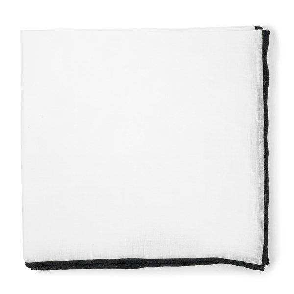 Black White Linen With Rolled Border Pocket Square