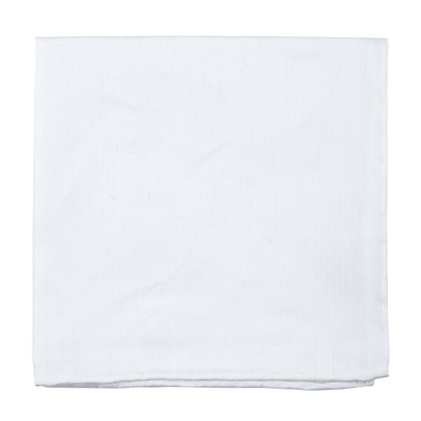 White Textured Linen Solid Pocket Square
