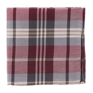 Crystal Wave Plaid Burgundy Pocket Square