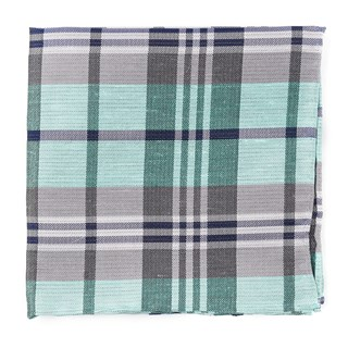 Crystal Wave Plaid Mint Pocket Square