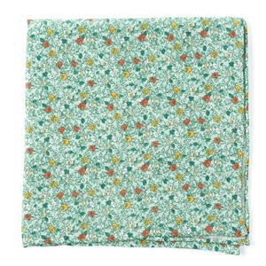 floral buzz moss green pocket square