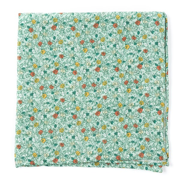 Moss Green Floral Buzz Pocket Square
