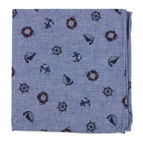 On Deck Warm Blue pocket square