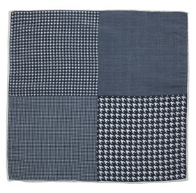 Navy Linen Houndstooth Pane pocket square