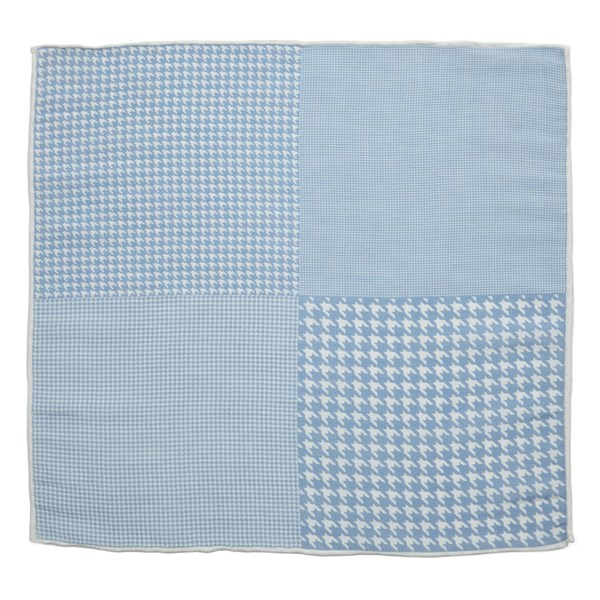 Light Blue Linen Houndstooth Pane Pocket Square