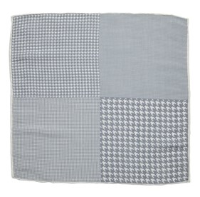 Silver Linen Houndstooth Pane pocket square