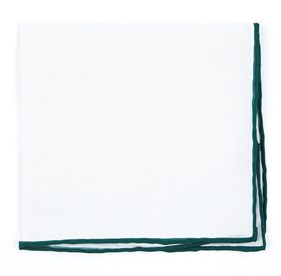 White Linen With Rolled Border Hunter Green pocket square