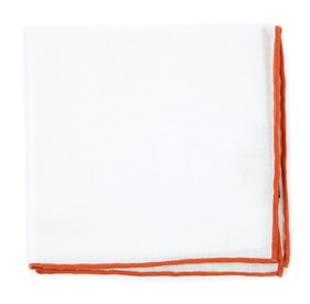 Burnt Orange White Linen With Rolled Border pocket square
