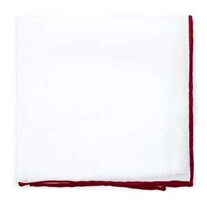 white linen with rolled border burgundy pocket square