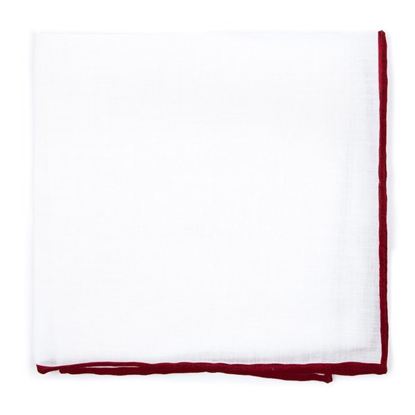 Burgundy White Linen With Rolled Border Pocket Square