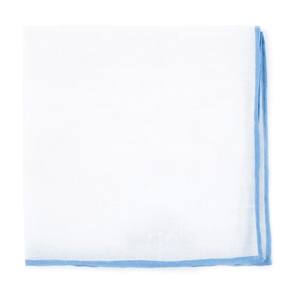 Sky Blue White Linen With Rolled Border Pocket Square