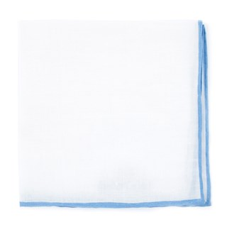 White Linen With Rolled Border Sky Blue Pocket Square