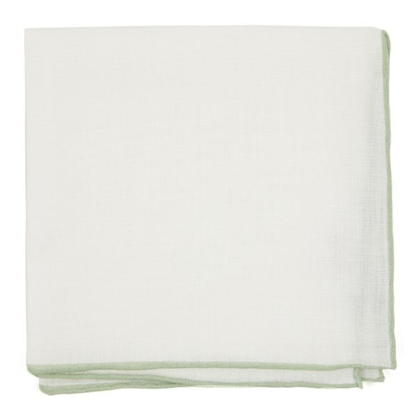 Sage Green White Linen With Rolled Border Pocket Square