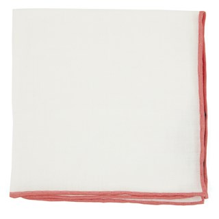White Linen With Rolled Border Coral Pocket Square