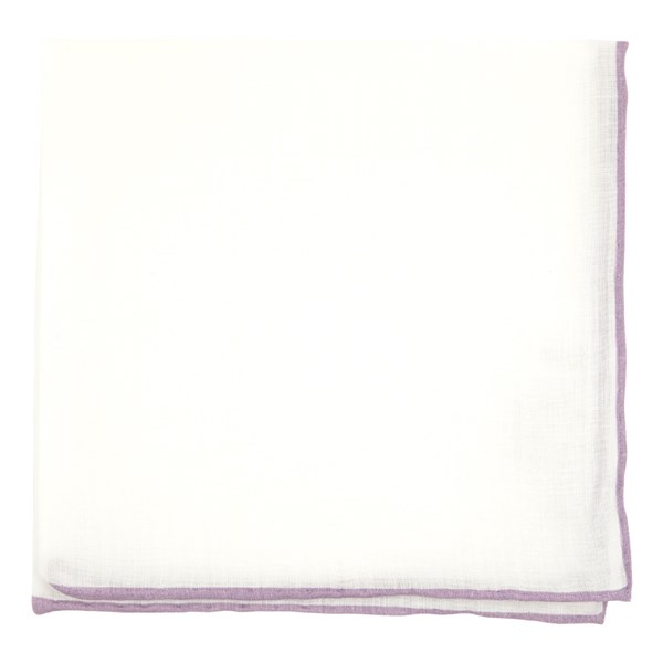 Wisteria White Linen With Rolled Border Pocket Square