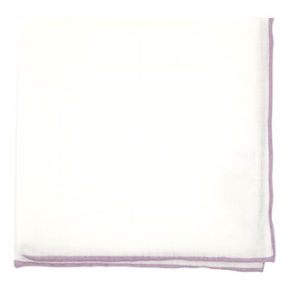 White Linen With Rolled Border Wisteria Pocket Square